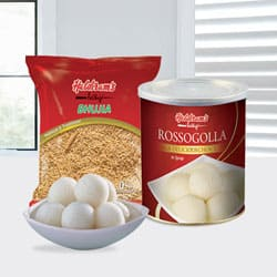 Haldiram Rasgulla with Bhujia from Haldiram to Kerala