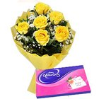 Alluring Yellow Rose Poesy and Cadbury Assortment Chocolates