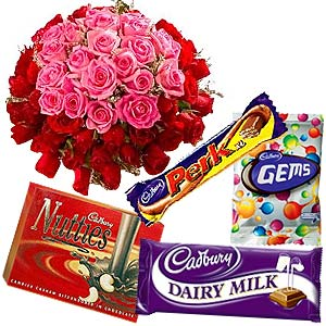Soft Pink and radiant Red Roses with assorted Cadburys Chocolate