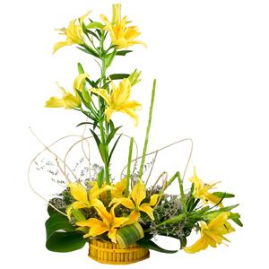 6 Stem Yellow Lilies Arrangement