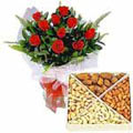 Send Exclusive 12 Red Roses along with yummy mixed Dry Fruits to Kerala
