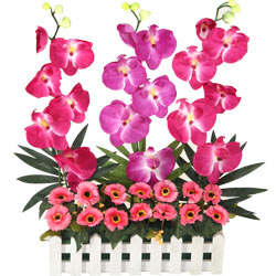 Bright Artificial Arrangement of Orchids and Matching Flowers