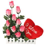 Long Lasting � Pink Roses n Red Heart