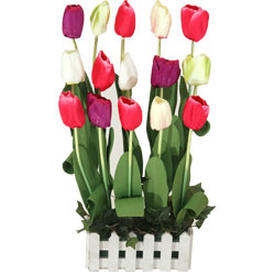 Clustered 15 Tulips Artificial Garden