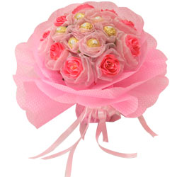 Sweetest Ferrero Rochers Delight with Long Lasting Pink Roses Love