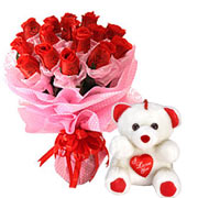 Long Lasting � Red Roses Bouquet with Teddy