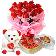 Long Lasting � Red Roses Bouquet with Teddy Bear  and Heart shape Chocolate Box