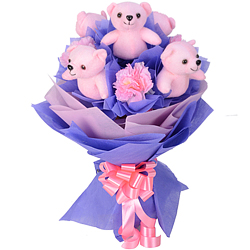 Charming Artificial Pink Carnations N Cute Pink Teddies Bookey