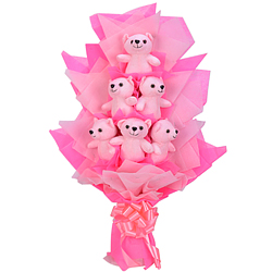Attractive Bunch of 6 Pink Teddies