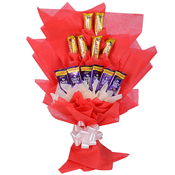 Luscious Chocolate Bouquet of Six Cadbury Dairy Milk N Six Cadbury Five Star
