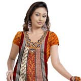 Sizzling Brown and Red Crepe Unstitched Salwar Suit