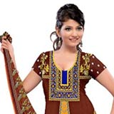 Gorgeous Maroon and Green Crepe Unstitched Salwar Suit