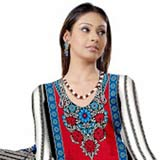 Ideal Red and Blue Crepe Unstitched Salwar Suit