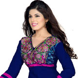 Admirable Semi Stitched Salwar Suit in Blue and Purple