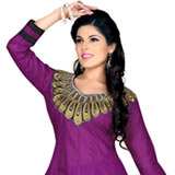 Resplendent Purple and Black Coloured Semi Stiched Salwar Suit