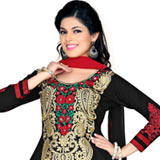 Magnificent Salwar Suit in Black and Red