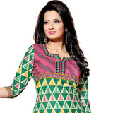 Admirable Green and Pink Coloured Pure Cotton Printed Salwar Suit
