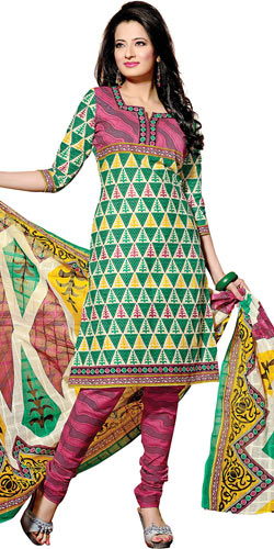 Amazing Green and Pink Coloured Pure Cotton Printed Salwar Suit