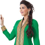 Charismatic Semi Stitched Georgette Salwar Suit in Green