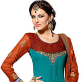 Appealing Blue and Chocolate Coloured Georgette Salwar Suit with Naznin Dupatta