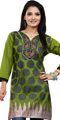 Wonderful Green Coloured Crepe Silk Printed Kurti
