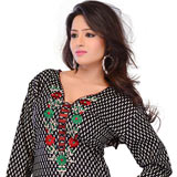 Amazing Black Coloured Cotton Embroidered Kurti