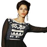 Graceful Black Coloured Georgette Embroidered Kurti