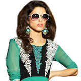 Astonishing Turquoise Green Coloured Georgette Embroidered Kurti
