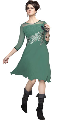 Beautiful Pastel Green Coloured Georgette Embroidered Kurti