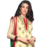 Super Ravishing Embroidered Cream and Green Coloured Salwar Kameez