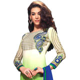 Extremely Graceful Embroidered Salwar Kameez in Blue and Green