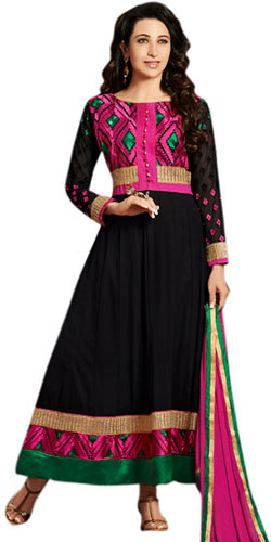 Attractive Anarkali Salwar Kameez in Black and Pink Colour