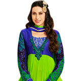 Amazing Embroidered Anarkali Salwar Kameez in Blue and Green