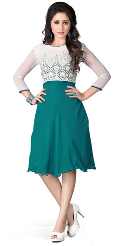 Beautiful Georgette Embroidered Kurti in White and Turquoise Colour
