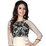 Admirable White and Black Coloured Georgette Embroidered Kurti