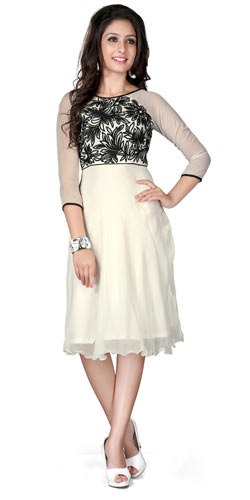 Breathtakingly Coloured White and Black Georgette Embroidered Kurti