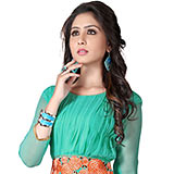 Classy Turquoise Coloured Georgette Embroidered Kurti