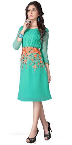 Enthralling Turquoise Georgette Embroidered Kurti