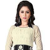 Admirable Beige and Black Coloured Georgette Embroidered Kurti