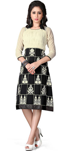 Astonishing Georgette Embroidered Kurti in Beige and Black Colour