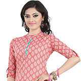 Amazing Pink Coloured Cambric Cotton Printed Kurti