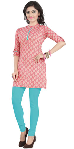 Charismatic and Classic Cambric Cotton Printed Kurti in Pink Colour