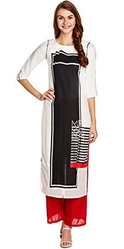 Zesty Black and White Kurti by W