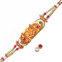 Attractive Rakhi Carved with a Design of Ganesh