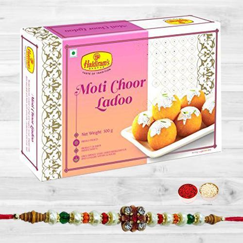 Stunning Stone Rakhi N Tasty Motichoor Ladoo, Free Roli Tika N Card