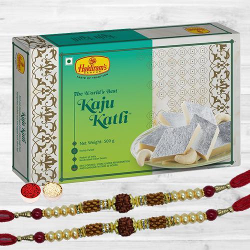 Holy Rudraksha Rakhi Pair N Tasty Kaju Katli, Free Roli Tika N Card
