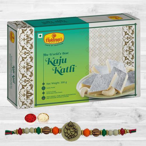 Gorgeous Ganesha Rakhi with Tasty Kaju Katli, Free Roli Tika N Card