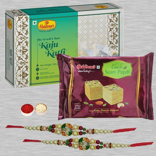 Ethnic Rakhi Pair N Assorted Mithai with Free Roli Tika N Card