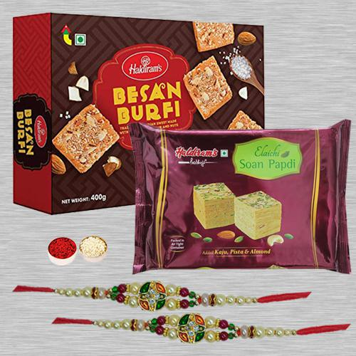 Exclusive Rakhi Set N Assorted Sweets with Free Roli Tika N Card