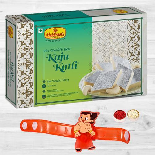 Showy Chota Bheem Rakhi N Kaju Katli with Free Roli Tika N Card